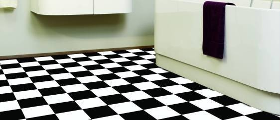 Reststück PVC Schachbrett schwarz-weiss 019D  Größe: ca. 5,00x1,00 ...