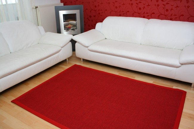 astra sisal teppich rot mit stoffbord re 011 muster muster. Black Bedroom Furniture Sets. Home Design Ideas