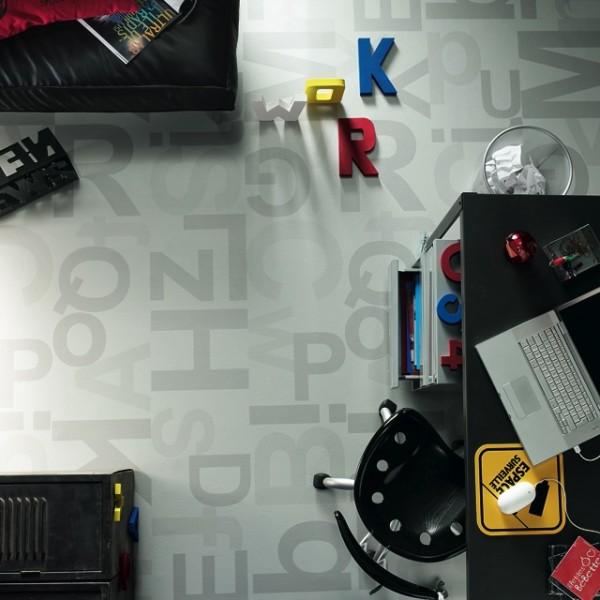 pvc bodenbelag tarkett design 260 alphabet grey 3m. Black Bedroom Furniture Sets. Home Design Ideas